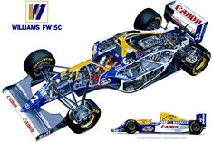 Automotive Illustration of a 1993 Williams FW15C Renault V10 Grand Prix Car by Tony Matthews