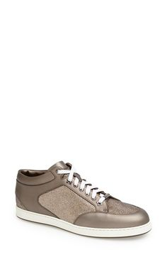 "Free shipping and returns on Jimmy Choo 'Miami' Sneaker (Women) at Nordstrom.com. <p><B STYLE=""COLOR:#990000"">Pre-order this style today! Add to Shopping Bag to view approximate ship date. You'll be charged only when your item ships.</b></p><br>Starry eyelets shine on a low-profile sneaker crafted in a mix of glittery lamé and sleek bronze leather."