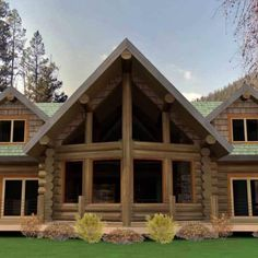 'The Monte Vista' - Log Home Floor Plan Design by Caribou Creek Log Homes - The Monte Vista was designed to blend traditional log construction with the simplicity of modern co - Mountain Style, Mountain Homes, Mountain Cabins, Cabins In The Mountains, Mountain Ranch House Plans, Mountain Cottage, Cottage Plan, Rustic Cottage, Wooden Cottage