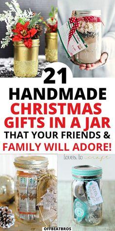Mason Jar Christmas Crafts, Christmas Wine Bottles, Christmas Food Gifts, Handmade Christmas Gifts, Jar Crafts, Diy Christmas Jar Ideas, Xmas Gifts For Mom, Homemade Christmas, Christmas Presents