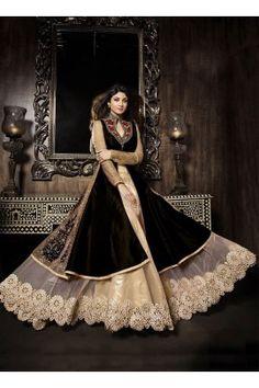 Black coloured net and silk fabric designer lehanga suit