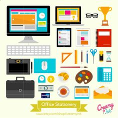 The desk stationery clip art featuring computers, tablet, stationeries such as pencil, pen, scissors, ruler and more. #clipart #vector #design See more at CreamyInk.etsy.com