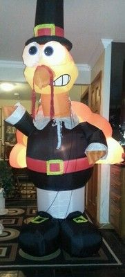 Gemmy Thanksgiving Airblown Inflatable Huge Version 8 Ft Lighted Pilgrim Turkey  bought 2011