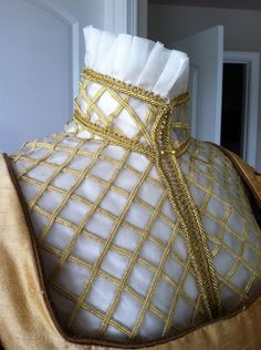 Elizabethan Costume: Silk Organza partlet with gold lattice work trim by Designs From Time. #Renaissance Costume.
