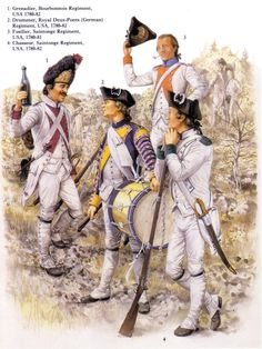 "French troops in the American War of Independence.From an Osprey Men At  Arms Book No;244 "" The  French Army In The american War Of Independence"" By Rene Chartrand, colour plates by Francis Back."