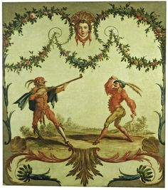 Razullo and Cucurucu. Andien de Clermont. Part of a series of 16 panels commissioned by Charles Calvert, 5th Baron Baltimore, in 1742 to decorate the 'Scaramouche Parlour' in his house, Belvedere, in Kent.