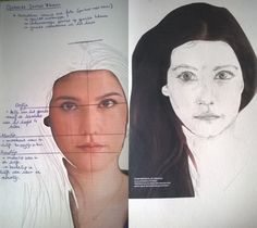 Plastische Opvoeding: De verhoudingen van een portret.  Opdracht: Vertrek vanuit een foto (gezicht met haar) knip het gezicht uit en duid hierop de verhoudingen aan. Lijm het haar op een tekenblad en teken het gezicht over.