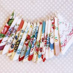 Vintage Style Hankies: A set of 16 vintage inspired flroal hankies. Perfectly suited for tea parties or as favors at your bridal shower or reception. Dab away those tears of joy in sweet vintage style!: