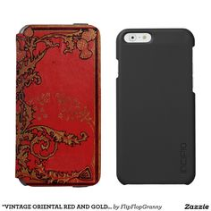 """VINTAGE ORIENTAL RED AND GOLD LEAF"" INCIPIO WATSON™ iPhone 6 WALLET CASE"