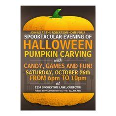 Halloween Pumpkin Carving Party Invitations