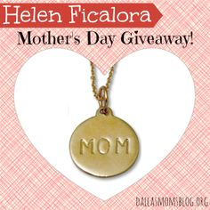 "Win a beautiful handcrafted Helen Ficalora ""Mom Charm"" necklace with chain just in time for Mother's Day."