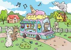 Alpaca Jigsaw Puzzle - Ice Cream Treat  We're excited to offer this new USA Made Alpaca Theme Alpaca Jigsaw Puzzle for Kids!  A cute, quality USA made 24-piece jigsaw puzzle of our design, made by an established American Puzzle and Toy company which brings over 20 years of puzzle industry experience to creating and manufacturing puzzles and toys. www.purelyalpaca.com