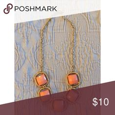 Statement Necklace // Gold & Orange Geometric Great to pair with a summer dress! Doesn't get enough love from me, so here it is! Price negotiable, make me an offer :) Charming Charlie Jewelry Necklaces