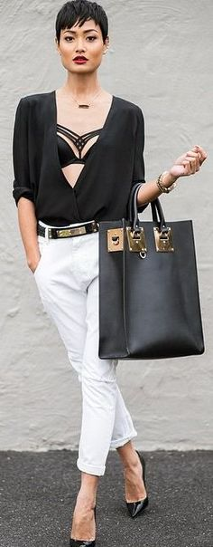Black And White Casual Chic Outfit by Micah Gianneli