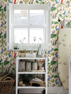 Exciting Interior Design with Cockatoos Wallpaper : Mesmerizing Laundry Room Designs With Green Leaves Cockatoos Wallpaper