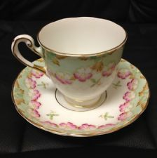 TUSCAN GREEN, PINK & GOLD FLORAL TEA CUP &  SAUCER ENGLAND FINE BONE CHINA
