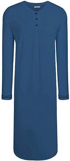 Skylin Men s Long Sleeve Sleep Shirt Henley Nightshirt Cotton Pjs Lounge  Dress (Dark Blue a5395aeed