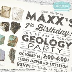 71bf74cc4eacbf5eb38001de5c4d737d birthday party invitations birthday parties geology rocks birthday party invite! my creations pinterest,Geology Birthday Party Invitations