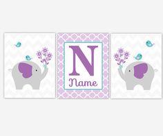 Baby Girl Nursery Art Purple Lavender Aqua Teal Elephants Jungle Safari Zoo Animals Personalzied Quatrefoil Baby Nursery Decor Girl Room Art