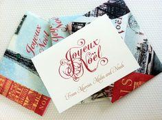 Personalized Christmas Card Set, Custom Christmas Cards, Joyeux Noel, Vintage Holiday Cards, 12 cards on Etsy, $20.00