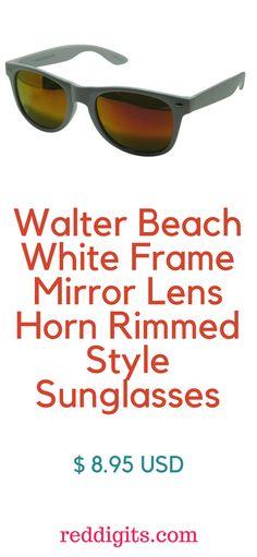 3da939daac6 Walter Beach White Frame Mirror Lens Horn Rimmed Style Sunglasses Milk  white plastic frame Non-