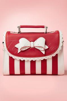 Lola Ramona - Girly Red White Striped Bow handbag shoulder bag
