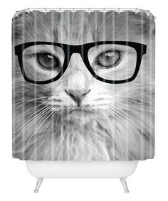 This Hippest Cat Shower Curtain by DENY Designs is perfect! #zulilyfinds