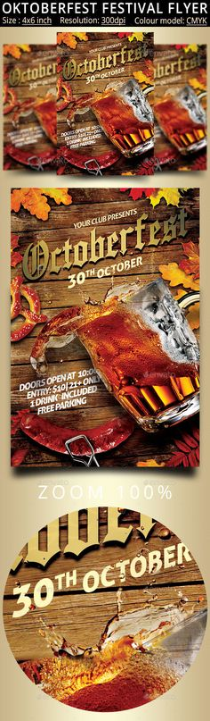 Oktoberfest Festival Party Flyer - autumn, bar, bavaria, Bavarian, beer, beer fest, beer festival, beverage, carnival, celebration, club, event, fall, fest, festival, flyer, german, germany, glass, halloween, holiday, october, October Fest, octoberfest, oktober, oktoberfest, Oktoberfest Flyer, party, poster, vintage