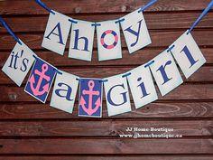 Ahoy its a Girl Banner,Nautical baby shower,nautical banner sign, Baby Shower Banner, Welcome Baby Banner, Birth announcement,Nursery Banner Nautical Banner, Nautical Baby, Baby Banners, Shower Banners, Welcome Baby Banner, Nursery Banner, Its A Girl Banner, Its A Girl Announcement, Birth