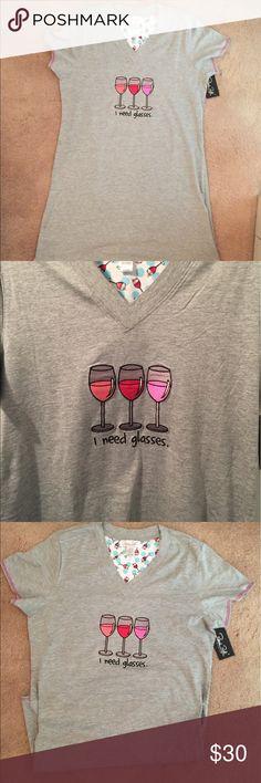 V-Neck Sleep Shirt V-neck sleep shirt  adorable and super soft. If you love wine this PJ shirt is for you. NWT Tops
