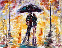 Original oil painting #Rain Couple Silouette by Karensfineart