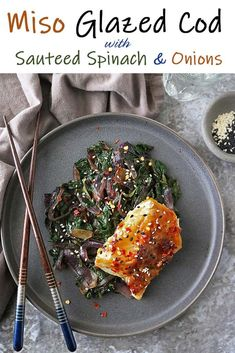 In this Miso Glazed Cod Recipe, buttery soft cod is pan sauteed in a spicy sweet miso glaze and served with soy and ginger spinach and onions. This is a nutritious and tasty one-pan dish that you can easily make at home with just a handful of ingredients. Vegetarian One Pot Meals, Easy One Pot Meals, Cod Recipes, Great Recipes, Healthy Recipes, Favorite Recipes, Miso Glaze Recipe, Miso Glazed Cod, Sauteed Spinach
