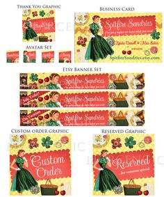Custom Etsy Banner Set Business Card Avatar by BearsGraphicDesign, $60.00