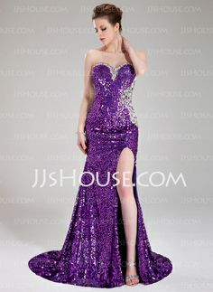 Prom Dresses - $176.49 - Sheath Sweetheart Court Train Sequined Prom Dress With Beading (018024364) http://jjshouse.com/Sheath-Sweetheart-Court-Train-Sequined-Prom-Dress-With-Beading-018024364-g24364
