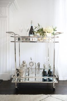 """Obtain wonderful ideas on """"bar cart decor inspiration"""". They are on call for you on our web site. Diy Bar Cart, Gold Bar Cart, Bar Cart Decor, Bar Carts, Metal Bar Cart, Bar Cart Styling, Drink Cart, Beverage Cart, Outside Bars"""