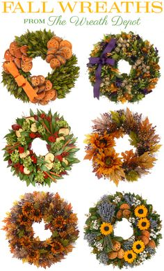 Fall wreaths from The Wreath Depot, www.thewreathdepot.com