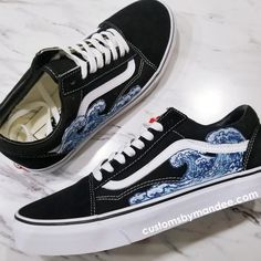 a2c4138c5db Waves Custom Embroidered-Patch Vans Old-Skool Sneakers Embroidered Vans