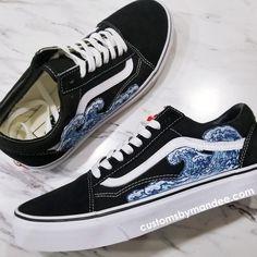 ff0b08420d9d Waves Custom Embroidered-Patch Vans Old-Skool Sneakers