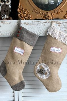 Boy and Girl Stockings from Burlap #Christmas Decor