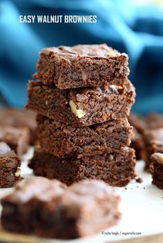 Easy Vegan Brownies Recipe. Fudgy, delicious and simple vegan brownies. Add walnuts, peppermint, ginger, peanut butter swirl. Vegan eggless Dairy-free palm oil free