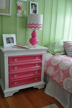 Brighten your bed room by painting your old nightstand with contrasting colors