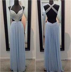 Dusty blue prom dress,sexy backless prom dress, prom dress 2017, cheap prom dress,Long prom dress,BD090