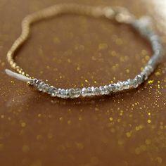 Labradorite Bracelet Gemstone Sparkle Gold Chain Silk Cord Delicate Handmade Jewelry. $79.00, via Etsy.