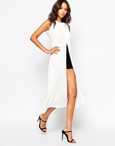 Image 1 ofBoohoo Maxi Top With Front And Back Split