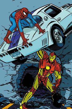 Spider-Man vs Iron Man by Mike Allred Marvel Vs, Marvel Dc Comics, Marvel Heroes, Marvel Characters, Mike Allred, Iron Man Art, Ultimate Marvel, New Avengers, Comic Books Art