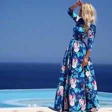 Fashion Hot Womens 3/4 Sleeve Bohemian Summer Floral Beach Maxi Dresses Blue