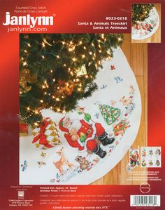 Santa Animals Tree Skirt Cross Stitch Kit 45 Diameter Janlynn for sale online Cross Stitch Tree, Counted Cross Stitch Kits, Cross Stitch Embroidery, Cross Stitching, Christmas Pictures, All Things Christmas, Cross Stitch Designs, Cross Stitch Patterns, Christmas Decorations