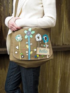 $78 Messenger Bag - School Bag - Personalized / Custom Order / Canvas / Adjustable Strap with lots of interior pockets