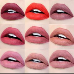 Girlactik Matte Lip Paint Colors from top left to right Seductive, Iconic, Divine Flirtatious, Allure, Posh starlet, Bashful & Sweet