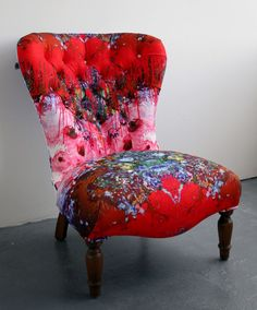 Reupholstered Chair by Timorous Beasties in a signature TB Fabric.